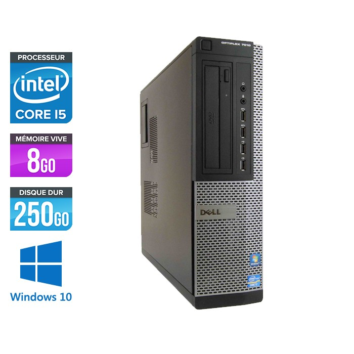 Dell Optiplex 7010 Desktop - Core i5 - 8 Go - HDD 250 Go - Windows 10