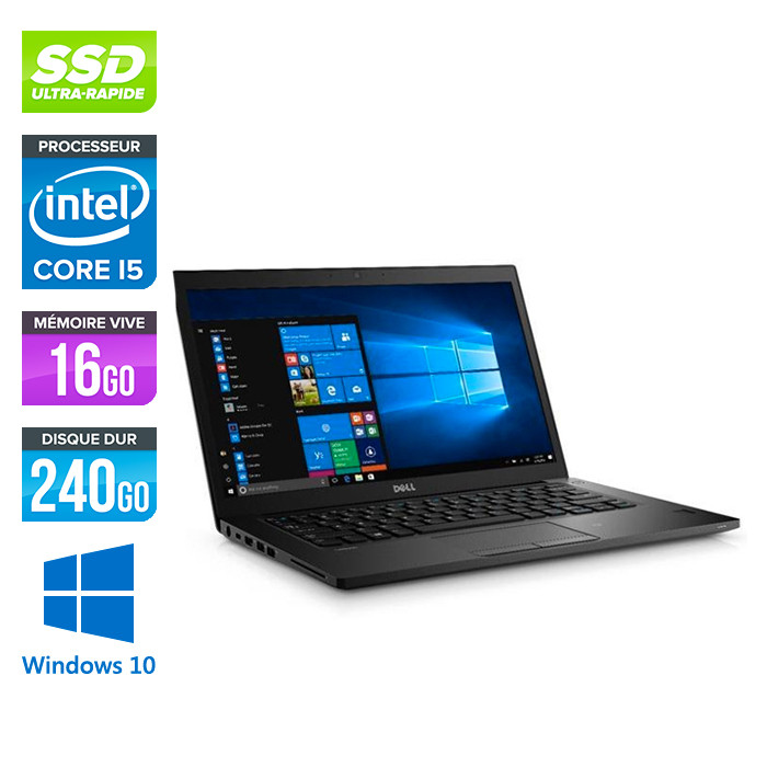 Pc portable reconditionné - Dell 7480 - i5 - 16 Go - 240Go SSD - Windows 10