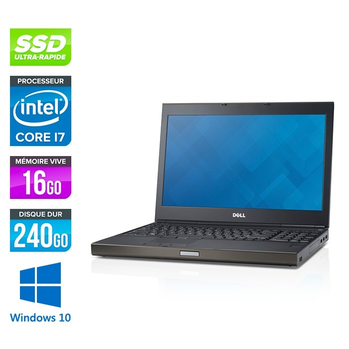 Dell Precision M6800 - i7 - 16Go - 240Go SSD - NVIDIA Quadro K3100M - Windows 10