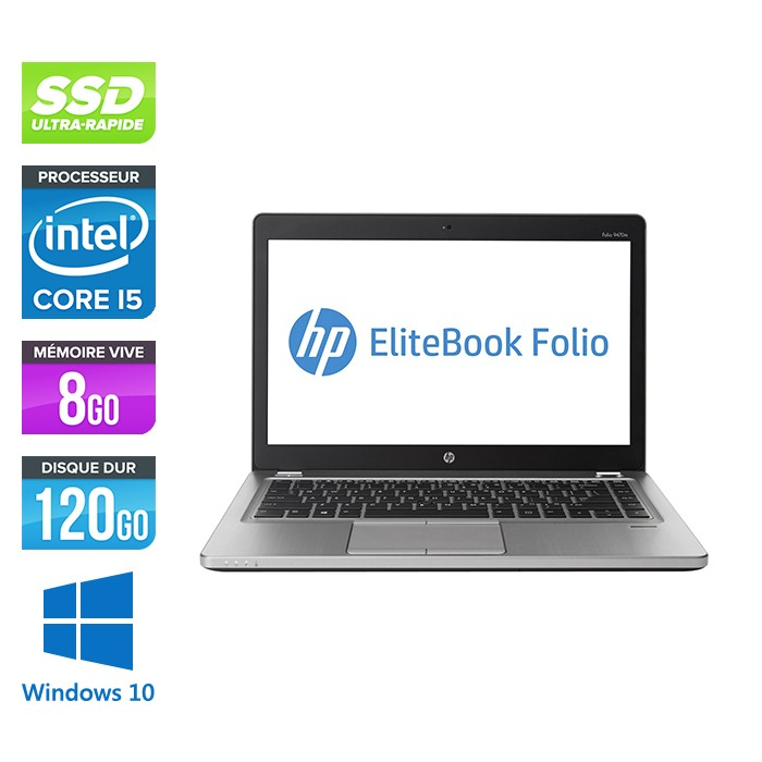 HP Folio 9470M - i5 -8Go -120Go SSD -14'' - Win 10 Home