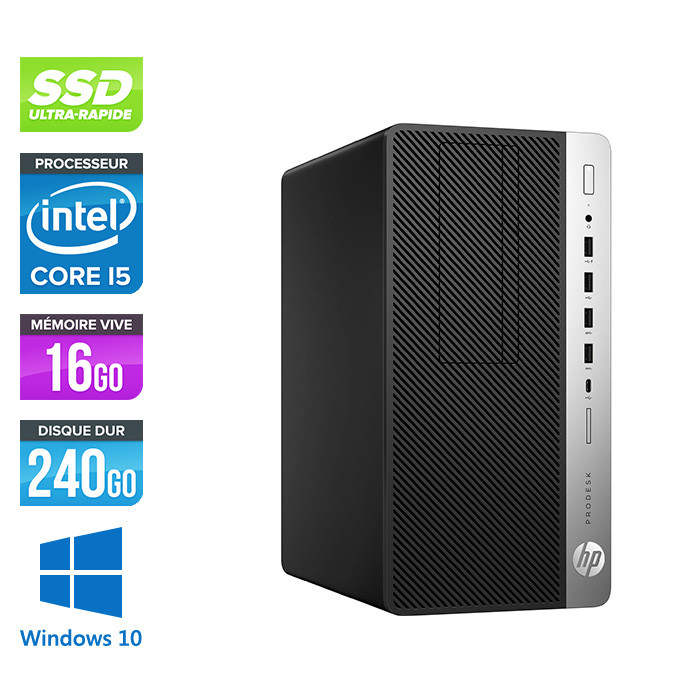 HP ProDesk 600 G3 Mini Tour - i5-7500 - 16Go DDR4 - 240Go SSD - Windows 10