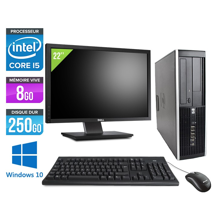 "HP Elite 8200 SFF + Ecran 22"" - Core i5 - 8Go - 250Go -Windows 10"