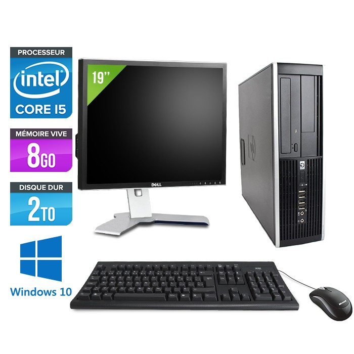 "HP Elite 8200 SFF + Ecran 19"" - Core i5 - 8Go - 2 To -Windows 10"