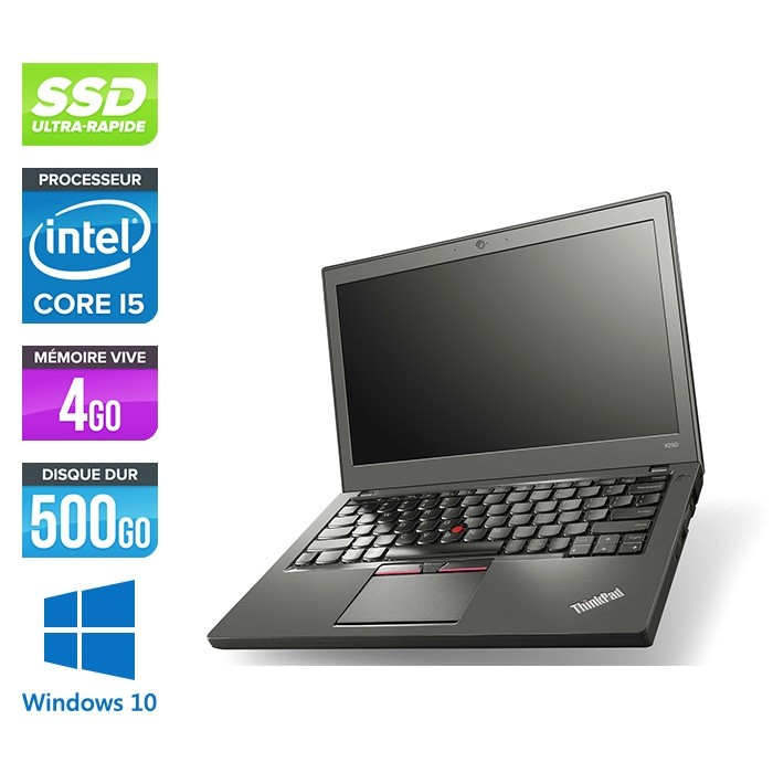 Lenovo ThinkPad X250 - i5 5300U - 4 Go - 500 Go SSD - Windows 10