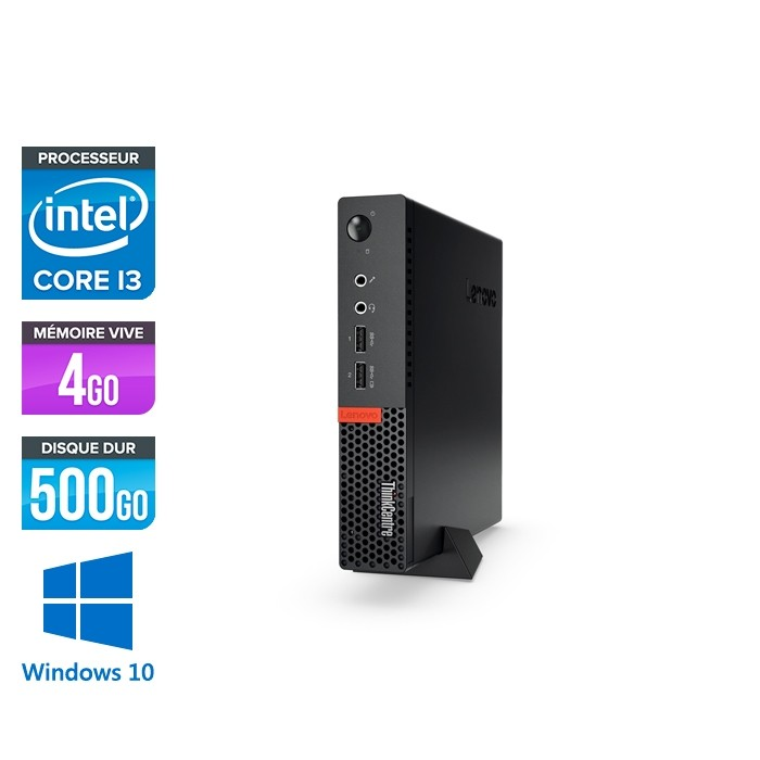 Lenovo M910Q USFF - i3 - 4 Go - 500 Go HDD - Windows 10