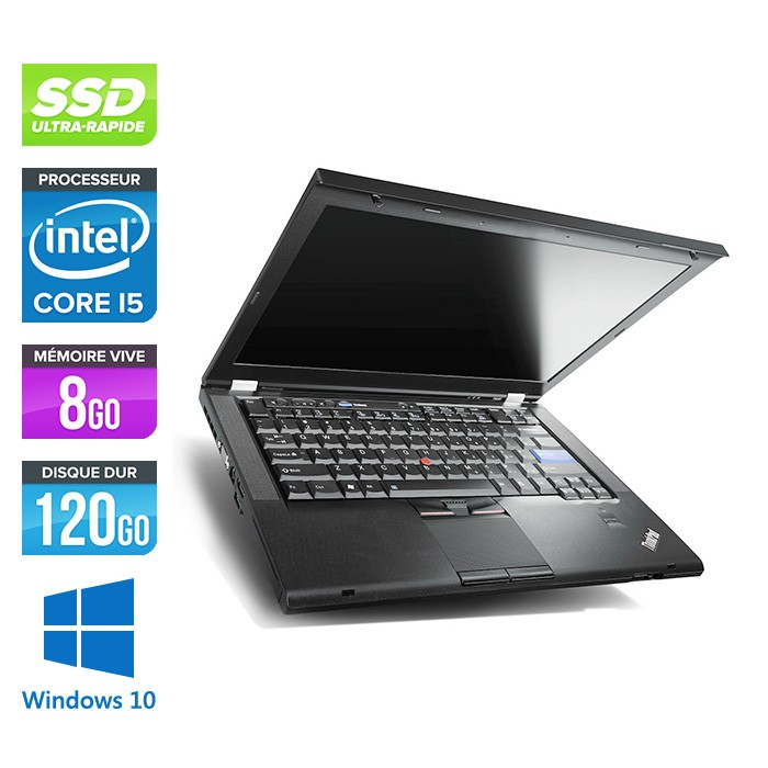 Lenovo ThinkPad T420 - i5 - 8Go - SSD 120Go - Windows 10 Professionnel