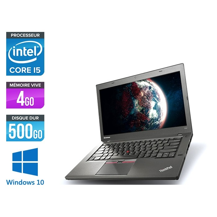 Ordinateur portable reconditionné - Lenovo ThinkPad T450 - i5 5300U - 4Go - HDD 500Go - Webcam - HD+ - Windows 10 professionnel