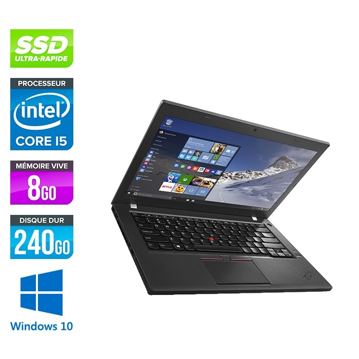 Lenovo ThinkPad T460 - i5 6200U - 8Go - SSD 240Go - FHD - Windows 10 professionnel