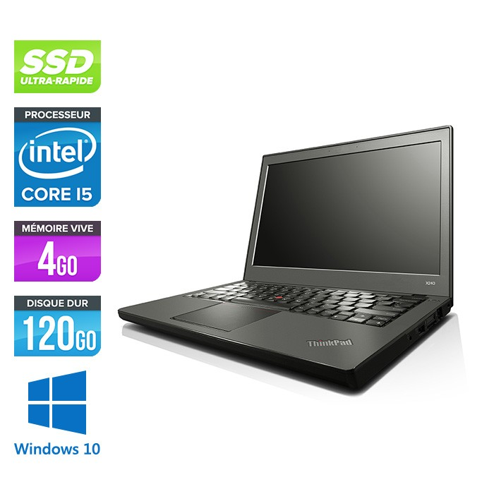 Lenovo ThinkPad X240 - i5 4300U - 8 Go - 120 Go SSD - Windows 10 - 2