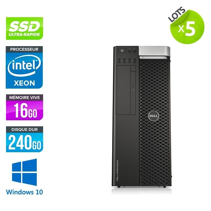 lot de 5 Dell T5610 - Xeon 2650 V2 - 16Go - 240Go SSD - Quadro K2000 - W10