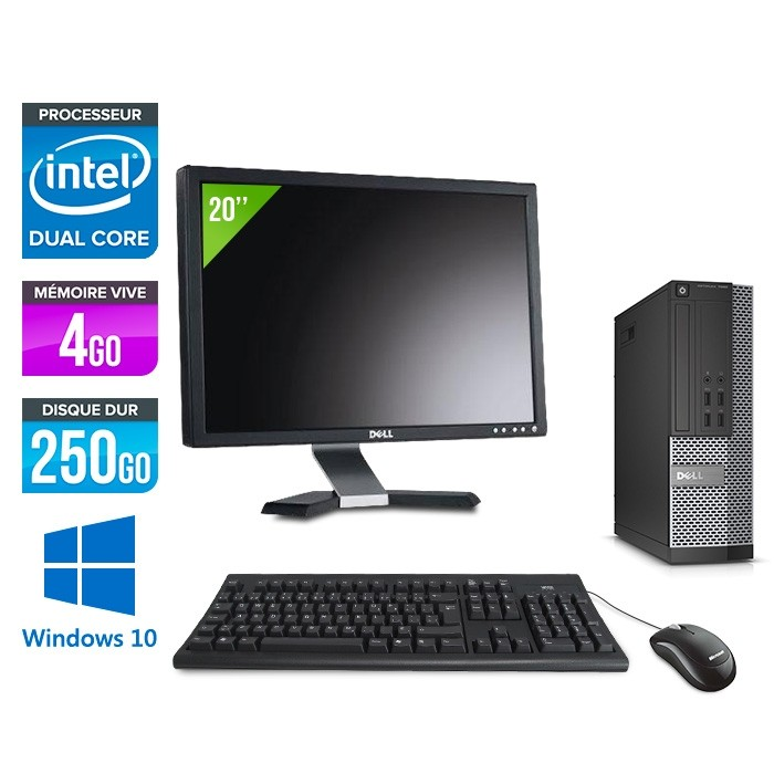 Pack Dell  Ecran 20 - Optiplex 7020 SFF - Intel pentium - 4go - 250go - hdd - windows 10