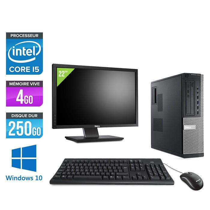 Dell Optiplex 7010 Desktop + Ecran 22'' - Core i5 - 4Go - 250Go - Windows 10
