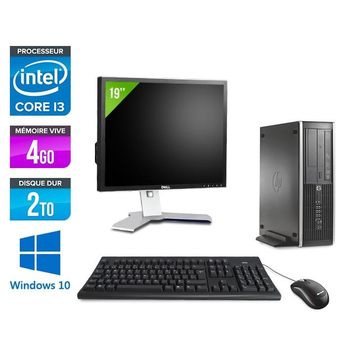 Pack PC bureau HP 6200 PRO SFF - i3 - 4Go - 2To - Windows 10 - Ecran 19