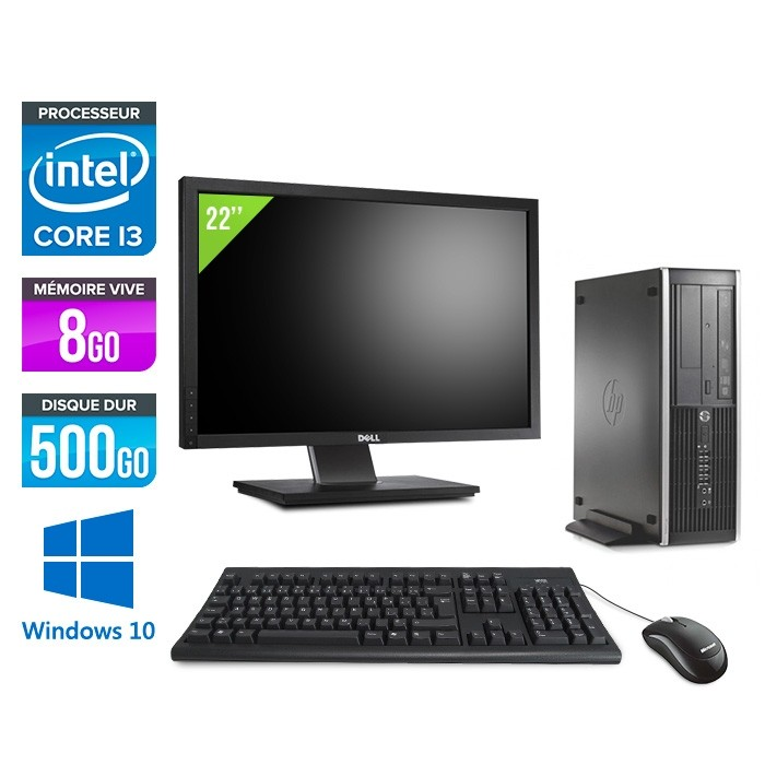 Pack PC bureau HP 6200 PRO SFF - i3 - 8Go - 500Go - Windows 10 - Ecran 22