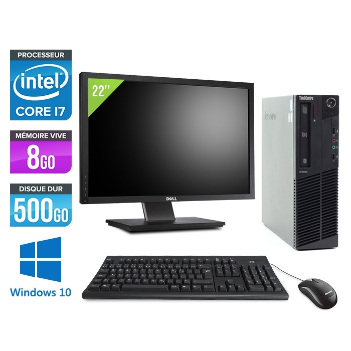 Pack pc bureau - Lenovo ThinkCentre M92P SFF - i7-3770 - 8 Go - HDD 500 Go - Ecran 22'' - Windows 10