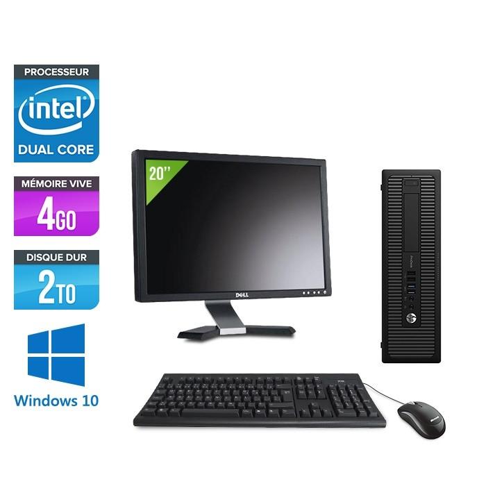 """Pack Ordinateur de bureau + écran 20"""" - HP EliteDesk 800 G1 SFF reconditionné - G3420 - 4Go - 2 To HDD - Windows 10"""