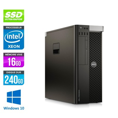 Dell T5610 - Xeon 2650 V2- 16Go - 240Go SSD + 240Go - Quadro K2000 - W10