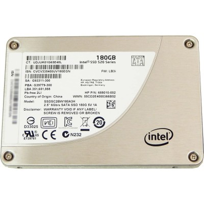 HP disque SSD de 180 GB reconditionné - Intel 520 Series - SATA 3 - SSDSC2BW180A3H - Trade Discount