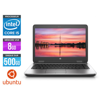 Pc portable - HP ProBook 640 G2 reconditionné - i5 6200U - 8Go - 500Go HDD - 14'' HD - Ubuntu / Linux