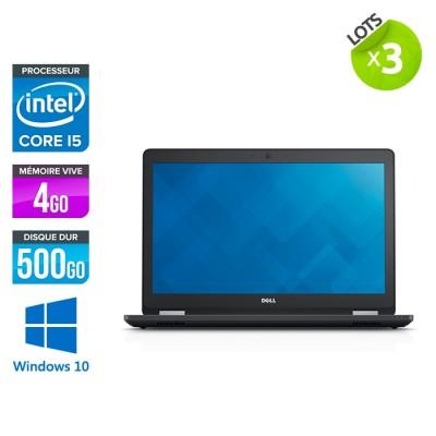 lot de 3 Pc portable reconditionné - Dell latitude E5570 - i5 - 4 Go - 500 Go HDD - Webcam - Windows 10