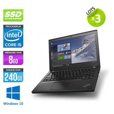 Lot de 3 Pc portable - Lenovo ThinkPad X270 - i5 6300U - 8Go - 240Go SSD - Windows 10
