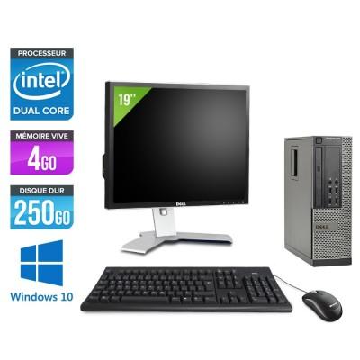 Dell Optiplex 7010 SFF + Ecran 19'' - Pentium G2020 - 4Go - 250Go - Windows 10 Pro