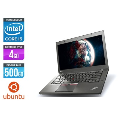 Ordinateur portable reconditionné - Lenovo ThinkPad T450 - i5 5300U - 4Go - HDD 500Go - Webcam - Ubuntu / Linux