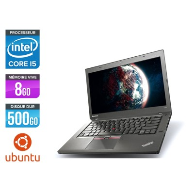 Ordinateur portable reconditionné - Lenovo ThinkPad T450 - i5 5300U - 8Go - HDD 500Go - Webcam - Ubuntu / Linux