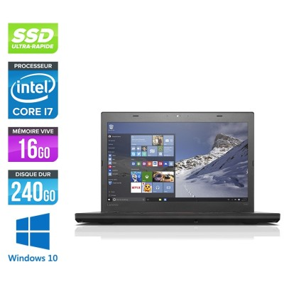 Ordinateur portable reconditionné - Lenovo ThinkPad T460 - i7 6600U - 16Go - SSD 240Go - Full-HD - Webcam - Windows 10 professionnel