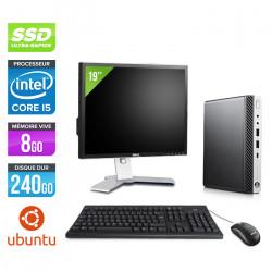 HP ProDesk 600 G3 Mini - Ubuntu / Linux + Ecran 19''