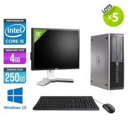 "Lot de 5 HP Elite 8200 SFF - Windows 10 + Ecrans 19"""